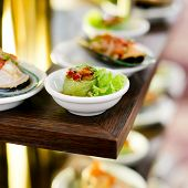 stock photo of nibbling  - appetizer finger food at party for cocktail  - JPG