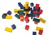 foto of cylinder pyramid  - colorful wooden toy blocks isolated on white background - JPG