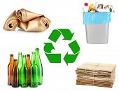 stock photo of dustbin  - Recycling concept - JPG