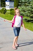 picture of knapsack  - Cute girl go to school with pink knapsack - JPG