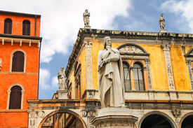 image of alighieri  - Monument of Dante Alighieri on the Piazza della Signoria in Verona Italy - JPG