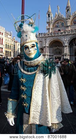Masked Person In Costume On San Marco Square, Venice