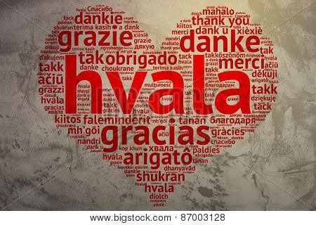 Serbian, Croatian Hvala - Heart Shaped Word Cloud Thanks, Grunge Background