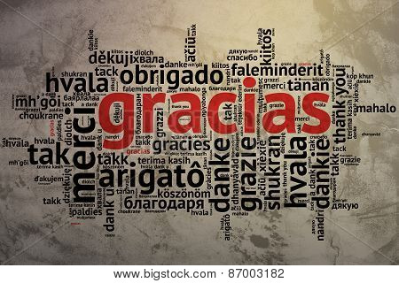 Spanish Gracias, Open Word Cloud, Thanks, Grunge Background