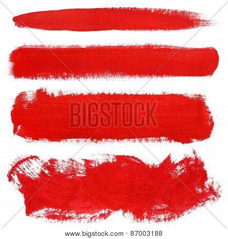 Red Strokes Of Gouache Paint Brush