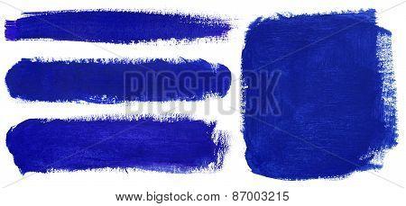 Blue Strokes Of Gouache Paint Brush