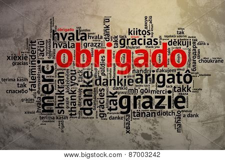 Portuguese Obrigado, Open Word Cloud, Thanks, Grunge Background