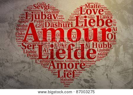 French: Amour. Heart Shaped Word Cloud Love, Grunge Background
