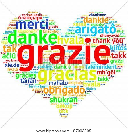 Italin: Grazie, Heart Shaped Word Cloud Thanks, On White