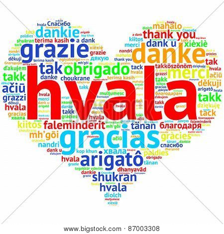 Serbian, Croatian Hvala - Heart Shaped Word Cloud Thanks, On White