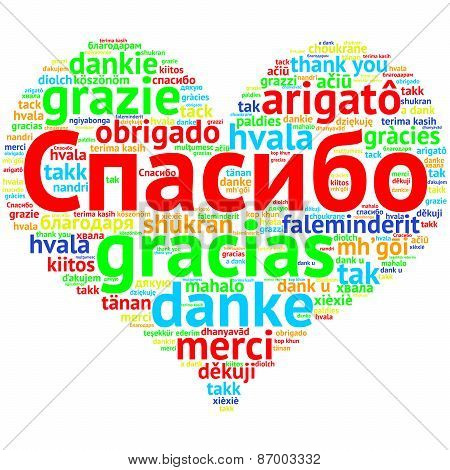 Russian: Spasiba, Heart Shaped Word Cloud Thanks, On White