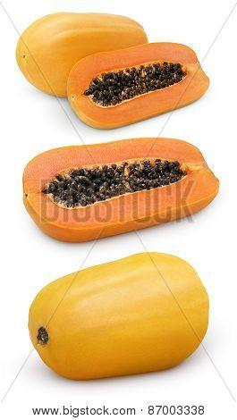Papaya Fruit With Cut