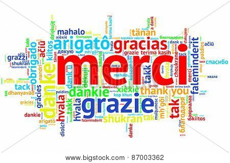 French Merci, Open Word Cloud, Thanks, On White