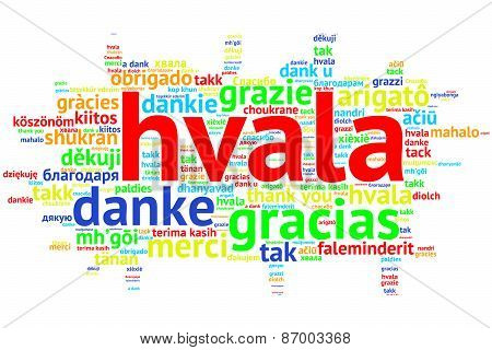 Croation: Hvala, Open Word Cloud, Thanks, On White