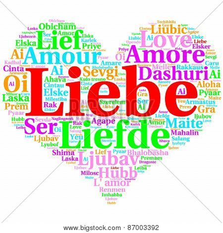 German: Liebe. Heart Shaped Word Cloud Love, On White