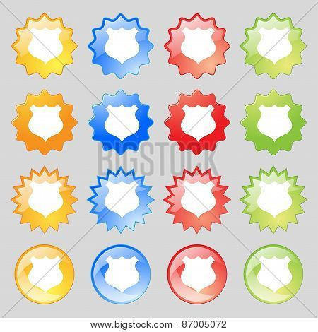Shield Icon Sign. Big Set Of 16 Colorful Modern Buttons For Your Design. Vector