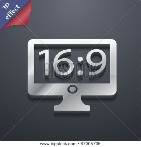 Aspect Ratio 16 9 Widescreen Tv Icon Symbol. 3D Style. Trendy, Modern Design With Space For Your Tex