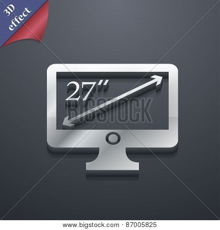 Diagonal Of The Monitor 27 Inches Icon Symbol. 3D Style. Trendy, Modern Design With Space For Your T