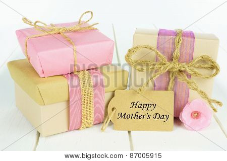 Gift boxes with Happy Mother's Day tag