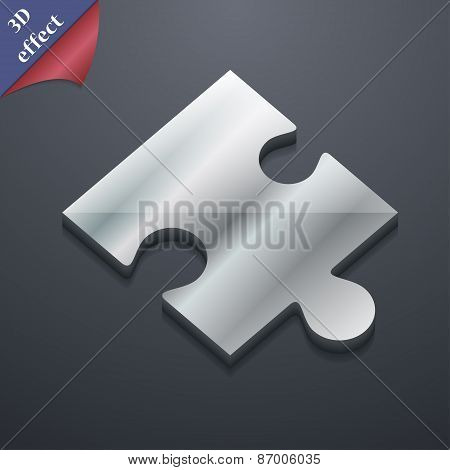 Puzzle Piece Icon Symbol. 3D Style. Trendy, Modern Design With Space For Your Text Vector