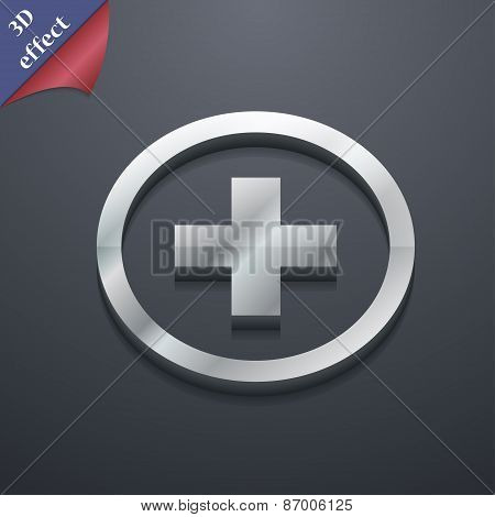 Plus, Positive, Zoom Icon Symbol. 3D Style. Trendy, Modern Design With Space For Your Text Vector