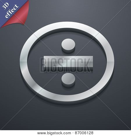 Dividing Icon Symbol. 3D Style. Trendy, Modern Design With Space For Your Text Vector