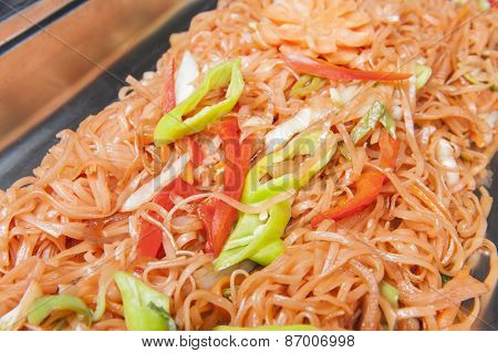 Stir Fried Vegetable Noodles At A Chinese Restaurant