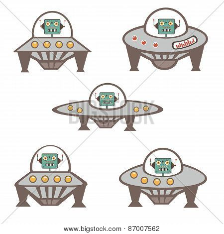 Robot characters in spaceship