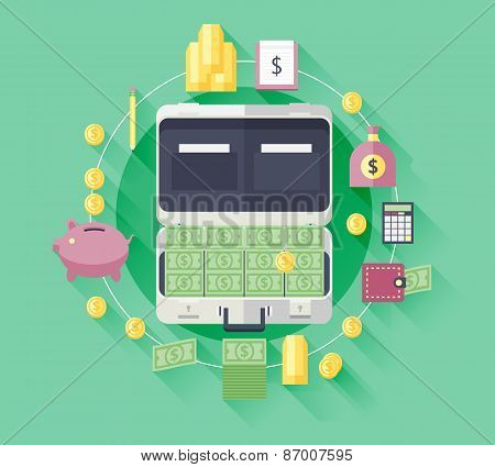 Illustration flat icons of financial and business items