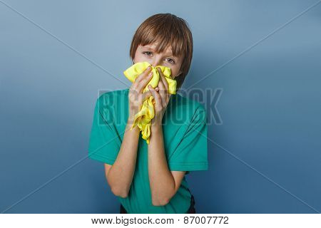 European-looking boy of ten years is ill, a handkerchief, a runn