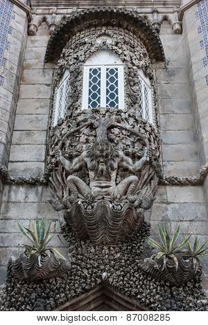 The depiction of a newt, symbolizing the allegory of creation of the world. Pena National Palace, Si