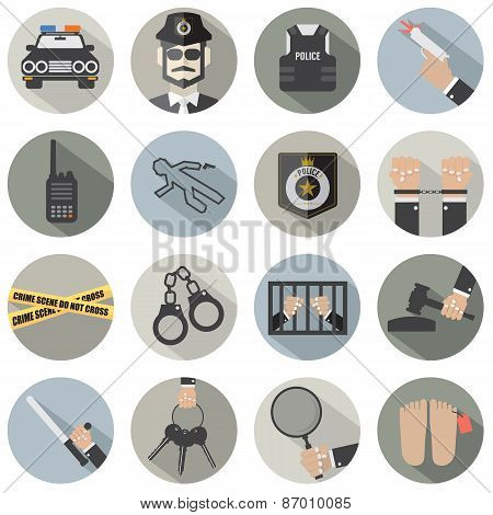Modern Flat Design Police And Law Icon Set.