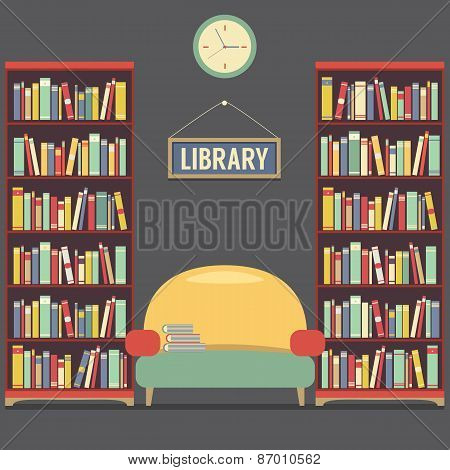 Empty Reading Seat In Library.
