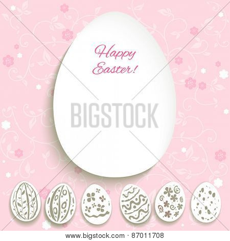 Easter card with decorative eggs on pink pastel background. Space for text.