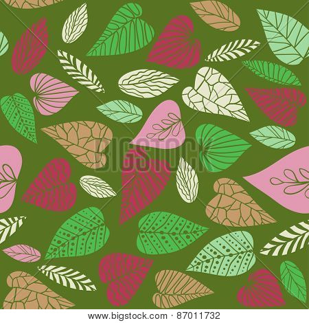 Decorative leaves on green background. Seamless retro pattern.