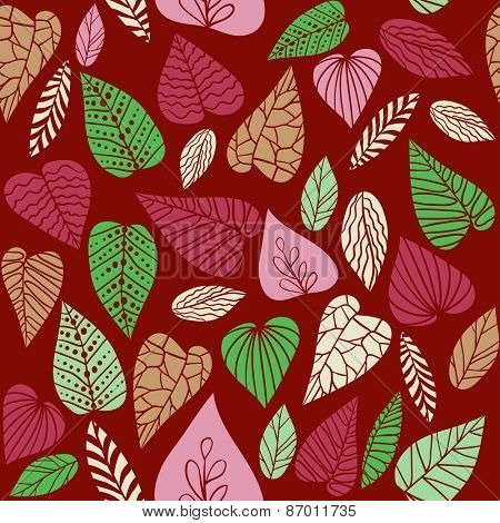 Hand drawn leaves on red background. Seamless pattern.