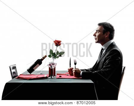 one man waiting dinning hungry in silhouettes on white background