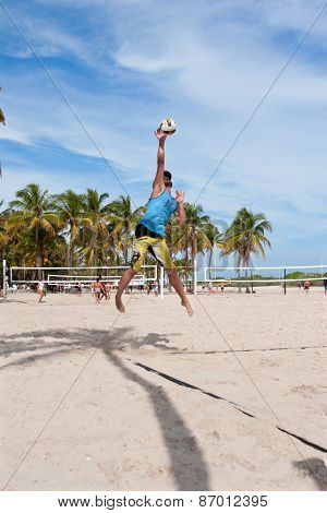 Man Hits Jump Serve In Pickup Miami Beach Volleyball Game