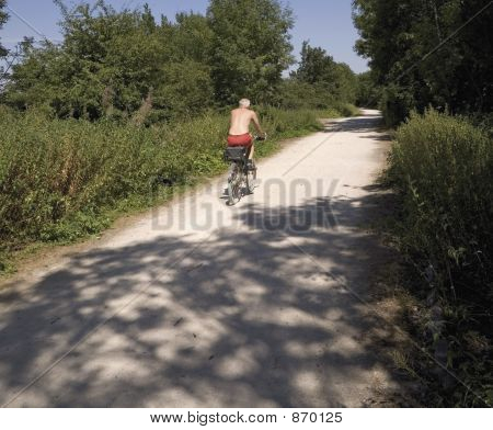 cyclist on the greenway cycle way stratford upon avon warwickshi