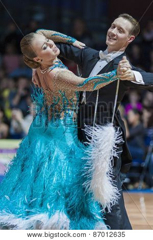 Minsk, Belarus-february 15, 2015: Chernenko Timofiy And Chernenko Margaryta From Ukraine Performs Ad