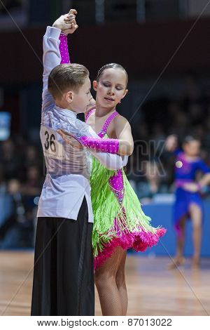 Minsk, Belarus-february 15, 2015: Unidentified Professional Dance Couple Performs Youth-2 Latin-amer
