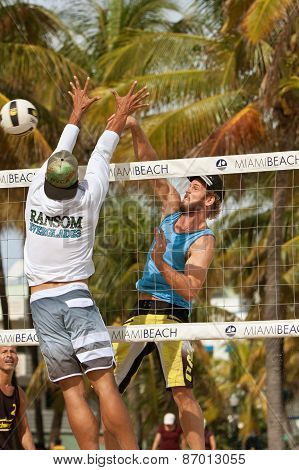 Man Spikes Ball Past Defender In Miami Beach Volleyball Game