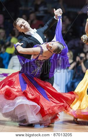 Minsk, Belarus-february 15, 2015: Dance Couple Of Shmidt Danila And Alina Gumenyuk Performs Youth-2