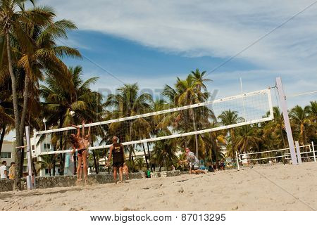 Wide Shot Of People Playing Beach Volleyball In Miami