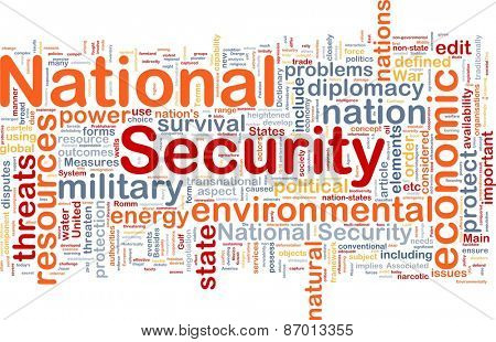 Background text pattern concept word cloud illustration of national security