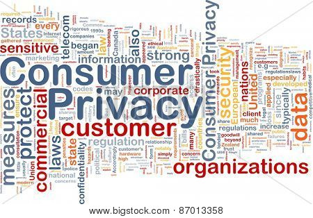 Background concept wordcloud of consumer privacy