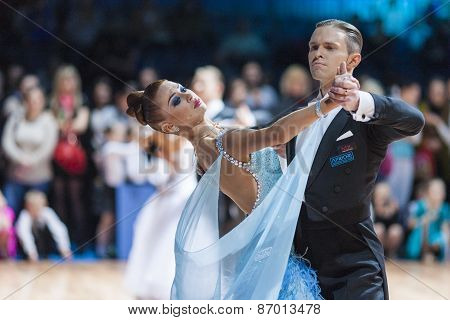 Minsk, Belarus-february 15, 2015: Asonov Ilya And Asonova Alena From Russia Performs Adult Standard