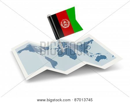 Map With Flag Of Afghanistan