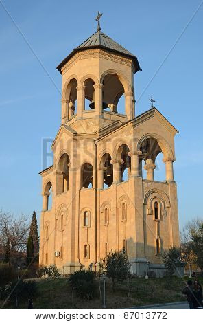 The bell towerHoly Trinity Cathedral of Tbilisi - the main cathedral of the Georgian Orthodox Church