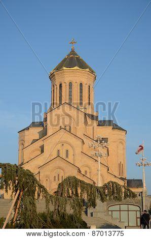 Tbilisi, Georgia-Feb,25 2015: Holy Trinity Cathedral of Tbilisi - Sameba